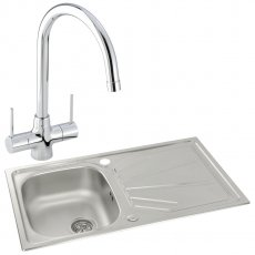 Abode Trydent 1.0 Bowl Inset Kitchen Sink with Nexa Sink Tap 860mm L x 500mm W - Stainless Steel
