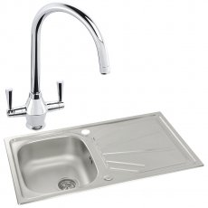 Abode Trydent 1.0 Bowl Inset Kitchen Sink with Astral Sink Tap 860mm L x 500mm W - Stainless Steel