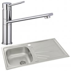 Abode Trydent 1.0 Bowl Inset Kitchen Sink with Specto Sink Tap 860mm L x 500mm W - Stainless Steel