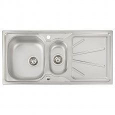 Abode Trydent 1.5 Bowl Inset Kitchen Sink 1000mm L x 500mm W - Stainless Steel