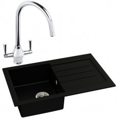 Abode Xcite 1.0 Bowl Granite Kitchen Sink with Astral Sink Tap 780mm L x 500mm W - Black Metallic
