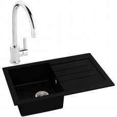 Abode Xcite 1.0 Bowl Granite Kitchen Sink with Atlas Sink Tap 780mm L x 500mm W - Black Metallic
