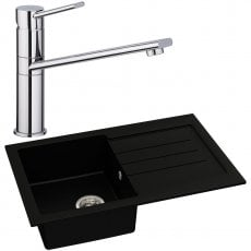 Abode Xcite 1.0 Bowl Granite Kitchen Sink with Specto Sink Tap 780mm L x 500mm W - Black Metallic