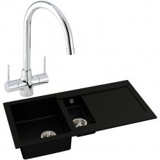 Abode Xcite 1.5 Bowl Granite Kitchen Sink with Nexa Sink Tap 1000mm L x 500mm W - Black Metallic