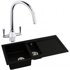 Abode Xcite 1.5 Bowl Granite Kitchen Sink with Astral Sink Tap 1000mm L x 500mm W - Black Metallic