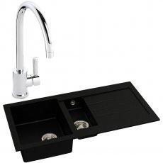 Abode Xcite 1.5 Bowl Granite Kitchen Sink with Atlas Sink Tap 1000mm L x 500mm W - Black Metallic