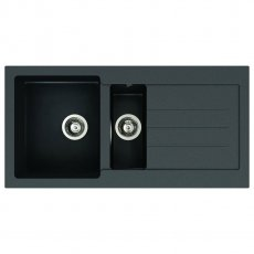 Abode Xcite 1.5 Bowl Granite Inset Kitchen Sink 1000mm L x 500mm W - Black Metallic