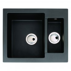 Abode Zero 1.5 Bowl Granite Inset Kitchen Sink 600mm L x 500mm W - Black Metallic