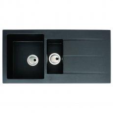 Abode Zero 1.5 Bowl Granite Kitchen Sink with Reversible Drainer 1000mm L x 500mm W - Black Metallic