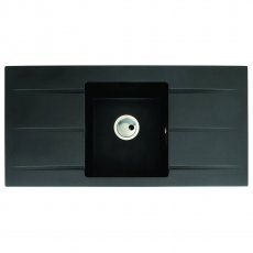 Abode Zero 1.0 Bowl Granite Inset Kitchen Sink 1000mm L x 500mm W - Black Metallic