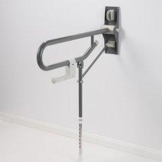 AKW 1800 Series Fold Up Toilet Support Grab Rail Adjustable Leg - Mid Grey