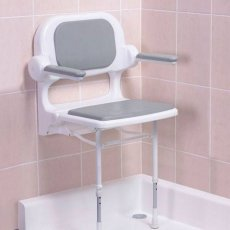 AKW 2000 Series Fold Up Shower Seat with Back & Arms Grey