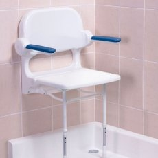 AKW 2000 Series Standard Fold Up Shower Seat with Back and Blue Arms - White