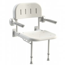 AKW 3000 Series Shower Seat with Back and Grey Padded Arms - White