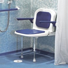 AKW 4000 Series Standard Fold Up Shower Seat Blue with Back & Arms Blue