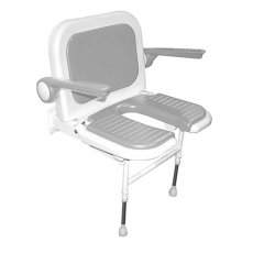 AKW 4000 Series Extra Wide Fold Up Horseshoe Shower Seat Grey, Back & Grey Arms