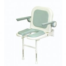 AKW 4000 Series Standard Fold Up Horseshoe Shower Seat Grey, Back & Grey Arms