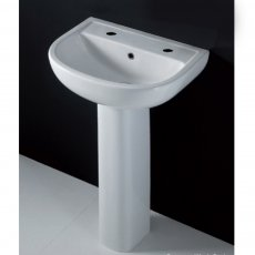 AKW Compact Basin with Full Pedestal 550mm Wide - 1 Tap Hole
