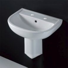 AKW Compact Basin with Semi Pedestal 460mm Wide - 2 Tap Hole