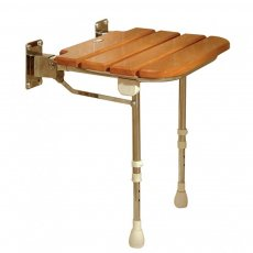 AKW Fold Up Wooden Slatted Seat with Support Legs