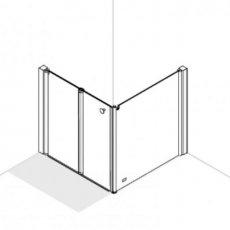 AKW Larenco Corner Care Half Height Bi-Fold Shower Door with Side Panel 900mm x 900mm - Non Handed
