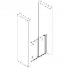 AKW Larenco Alcove Half Height Bi-Fold Shower Door 800mm Wide - Non Handed