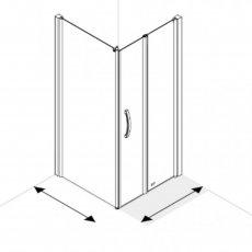 AKW Larenco Corner Full Height Bi-fold Shower Door with Side Panel 800mm x 800mm
