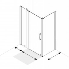 AKW Larenco Corner Full Height Hinged Shower Door with Side Panel 1300mm x 700mm