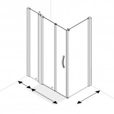 AKW Larenco Corner Full Height Bi-fold Shower Door with Side Panel 1200mm x 700mm