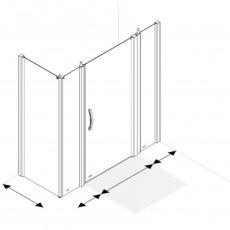 AKW Larenco Corner Full Height Hinged Shower Door with Side Panel 1800mm x 820mm