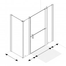 AKW Larenco Corner Full Height Duo Shower Door with Side Panel 1600mm x 700mm