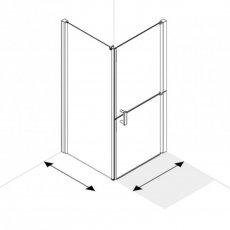 AKW Larenco Corner Full Height Duo Shower Door with Side Panel 1000mm x 700mm