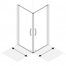 AKW Larenco Corner Entry Full Height Hinged Shower Door 820mm x 820mm - 6mm Glass