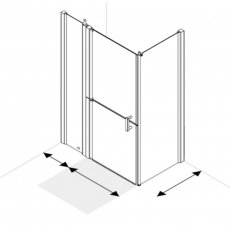 AKW Larenco Corner Full Height Duo Shower Door with Side Panel 1420mm x 800mm