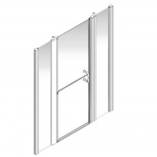 AKW Larenco Alcove Full Height Duo Extended Shower Door 1800mm Wide - Non Handed