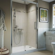 AKW Larenco Single Sliding Shower Door 1500mm Wide - Non Handed
