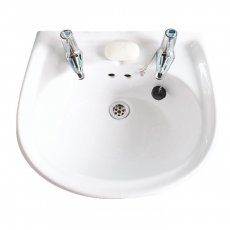 AKW Livenza Basin with Full Pedestal 450mm Wide - 2 Tap Hole
