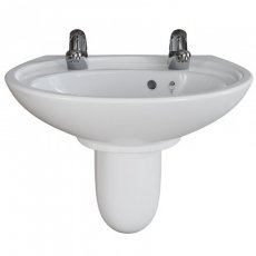 AKW Livenza Plus Basin with Semi Pedestal 550mm Wide - 2 Tap Hole
