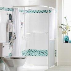 AKW White Shower Heavy Duty Curtain 1800mm Wide x 1800mm Drop
