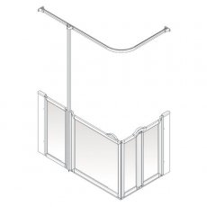 AKW Option B 900 Shower Screen, 1200mm x 820mm, Left Handed