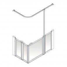 AKW Option B 900 Shower Screen 1300mm x 700mm - Right Handed