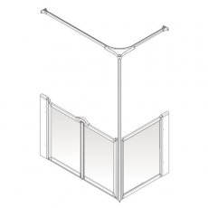 AKW Option C 750 Shower Screen, 1200mm x 760mm, Left Handed