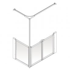 AKW Option C 750 Shower Screen, 1200mm x 650mm, Right Handed