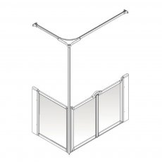 AKW Option C 750 Shower Screen 1050mm x 1050mm - Right Handed