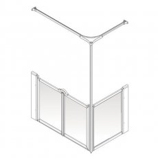 AKW Option C 750 Shower Screen, 1200mm x 760mm, Right Handed