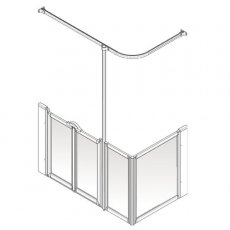 AKW Option D 900 Shower Screen, 760mm x 1200mm, Left Handed