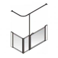 AKW Option Q Shower Screen, 1300mm x 700mm, Right Handed