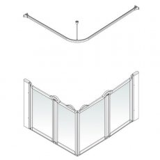 AKW Option E 900 Shower Screen, 750mm x 1250mm, Right Handed