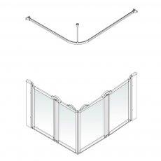 AKW Option E 750 Shower Screen 1000mm x 800mm - Right Handed
