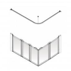 AKW Option E5 750 Shower Screen 1300mm x 820mm - Left Handed